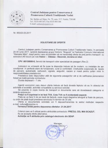 """Anunt privind solicitare de oferte pentru achizitia serviciului de transport international pentru membrii grupului folcloric """"Mugurel"""""""