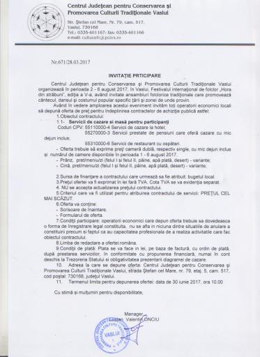 """Anunt privind achizitia serviciilor de cazare la hotel, pensiune si servirea mesei in restaurant pentru Festivalul internațional """"Hora din străbuni"""",2017"""